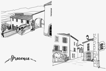 Two pictures with nice old streets and hills in romantic Provence, France. Urban sketches