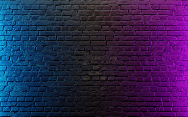 Modern futuristic neon lights on old grunge brick wall room background. 3d rendering Wall mural