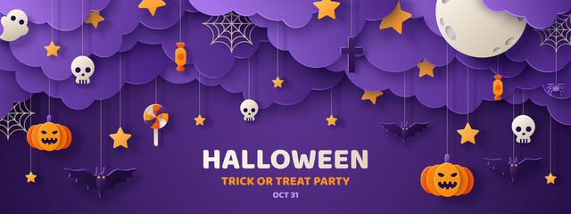 Halloween paper cut banner