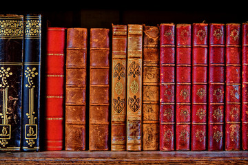 a shelf with old books