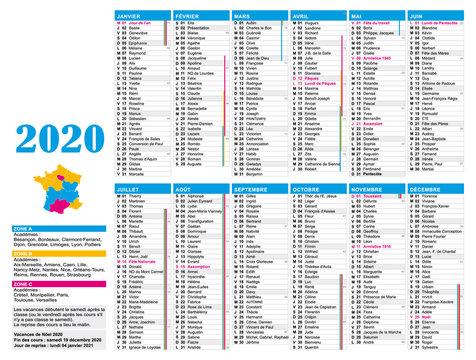 Calendrier 2020 bleu. France. Vacances scolaires, nombre de semaines et jours fériés.