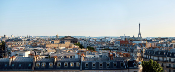 Aluminium Prints Eiffel Tower Panorama of Paris, view of the roofs and the Eiffel Tower