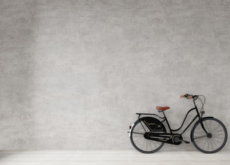 Bicycle at the concrete wall, minimal style background copy space, mock up 3d rendering