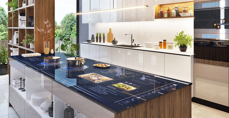 Smart home control panel in modern kitchen