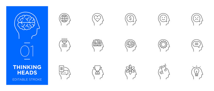 Set of Thinking heads line icons - Modern icons