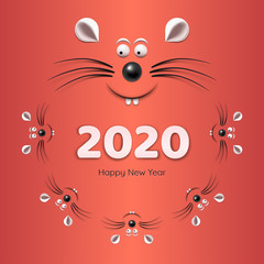 Banner - Chinese Happy new year 2020. Template image with family of rat or mouse isolated on red background. Lunar horoscope sign mouse.