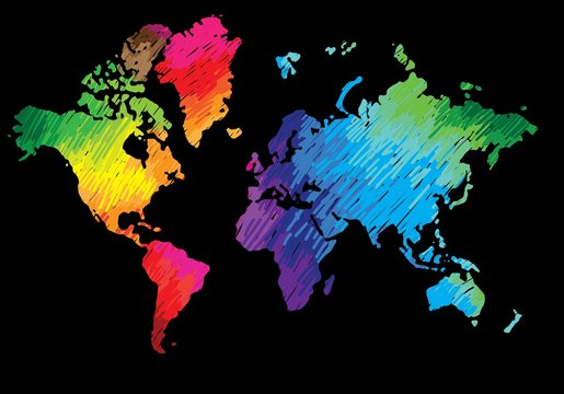 World map. Continents and countries. Flat map of the earth. Peace, love, music and art. Pacifism. Multicolored drawing markers. Bright colours.