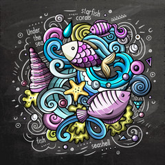 Underwater cartoon doodle chalkboard illustration