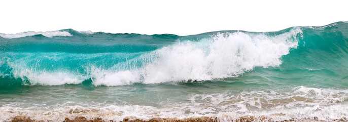Fototapete - Powerful ocean waves with white foam isolated on a white background. Wide format.
