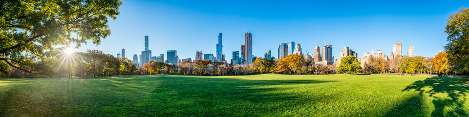 Central Park in New York City as panorama background during autumn season