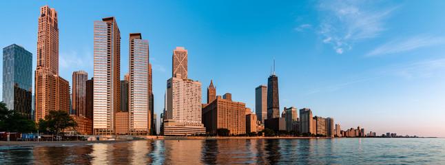 Skyline of Chicago during sunrise