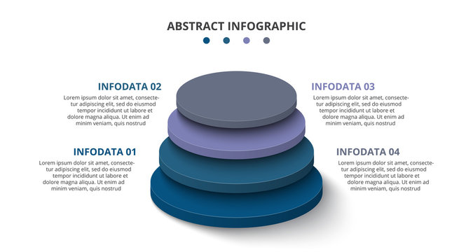 3d circles with 4 segments or layers. Modern infographic design template. Vector illustration for presentation. Concept of four stages of hierarchy.