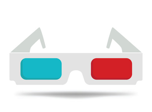 Cartoon glasses for the cinema. 3d glasses for watching the movie. Illustration for children.
