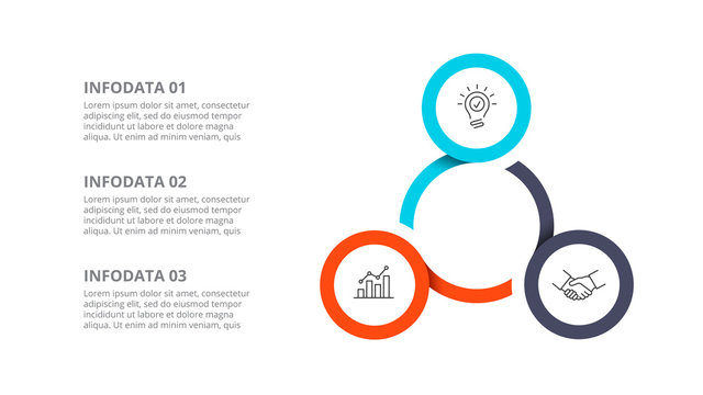 Cyclic diagram infographic with circles. Modern infographic design template with 3 options, steps or parts. Flat vector illustration for business presentation.