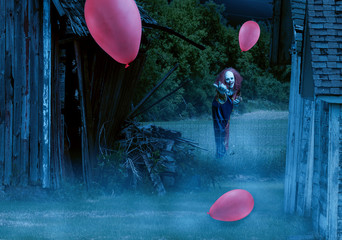 scary clown in an eerie setting waves the viewer to him
