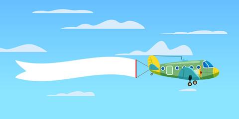 Red retro biplane aircraft pulling advertisement banner