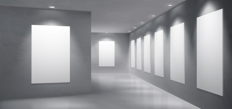 Art gallery, museum exhibition hall empty interior with painting, photography blank white, clean frames hanging on wall, illuminated round spotlight lamps from ceiling 3d realistic vector illustration
