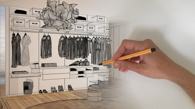 Architect interior designer concept: hand drawing a design interior project sketch while the space becomes real, minimal bedroom with walk-in closet, architecture interior design idea