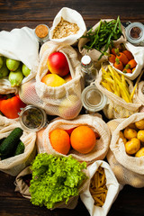 Close up top view of various food, conscious consumption