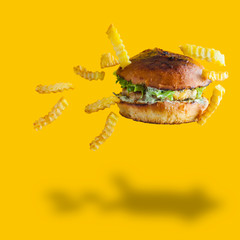 Hamburger and french fries on yellow background