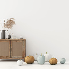 Autumn interior decoration with chest of drawer