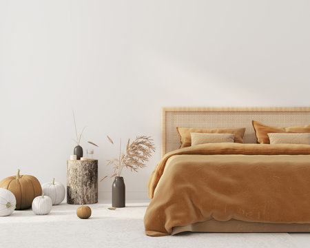 Bedroom interior  with autumn colored bedding  and decoration for Halloween