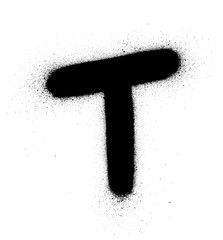 graffiti fat small T font sprayed in black over white