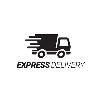 Express delivery Service Logo With Transport Car Vector Design Template