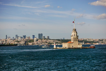 Fotomurales - Maiden Tower and modern Istanbul buildings