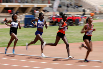 Runners compete during the women's 5000 meters run at IAAF World Athletics Championships national trials at the Nyayo national stadium Nairobi