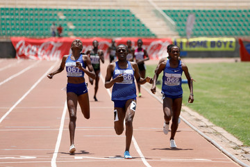 Runners compete during the women's 800 meters run at IAAF World Athletics Championships national trials at the Nyayo national stadium Nairobi