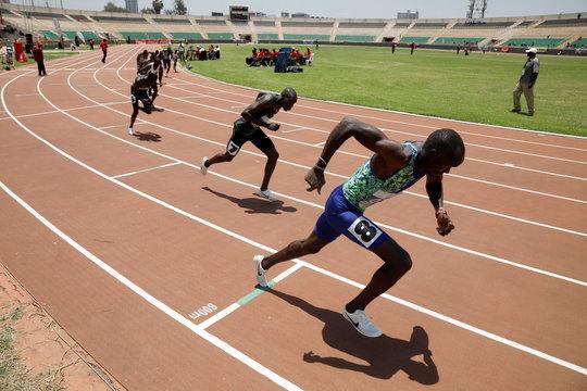 Runners leaves the starting block during the men's 800 meters run at IAAF World Athletics Championships national trials at the Nyayo national stadium Nairobi