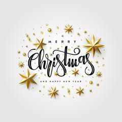 Christmas 2020 Star Confetti Gold Gray Vector illustration