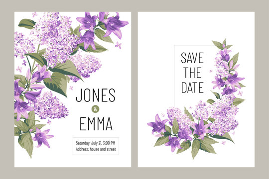 Wedding invitation card. Frame with text and flowers - purple Campanula and Lilac on white Background.