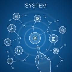 system concept, blue background.management, processing, plan, scheme icons