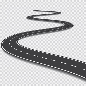 Winding road. Vector template on transparent background
