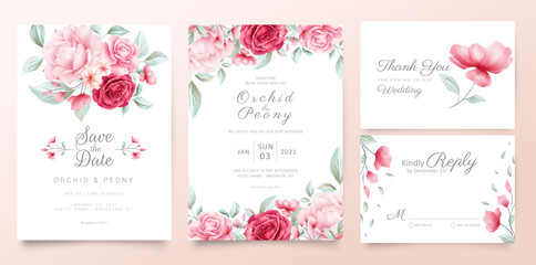 Botanic wedding invitation cards template with watercolor flowers and wild leaves Fototapete