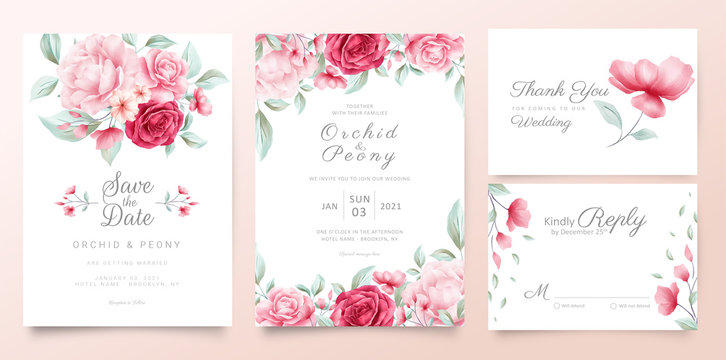 Botanic wedding invitation cards template with watercolor flowers and wild leaves
