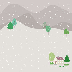 Illustration of countryside landscape with falling snow.