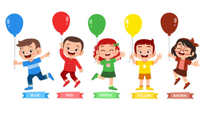 happy cute kid wear many color design