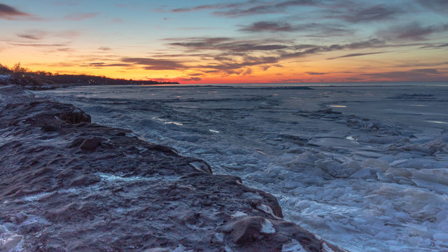 Dramatic Sunset Over Frozen Lake Erie, Ashtabula Ohio