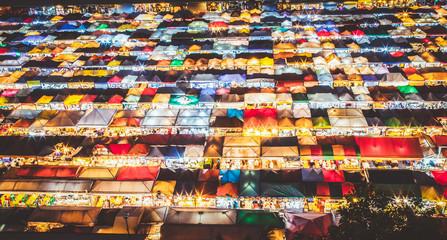 Printed roller blinds Gray traffic colorful Night Train Market Ratchada, Bangkok, Thailand