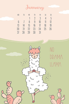 Calendar for January 2020 from Monday to Sunday. Cute llama standing in yoga pose.