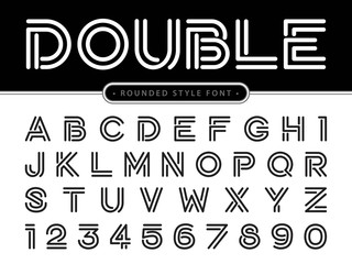 Vector of Modern Alphabet Letters and numbers, Parallel lines stylized rounded fonts, Double Line for each letter.
