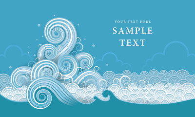 Thai Water Vector, Abstract  wave design element Wall mural