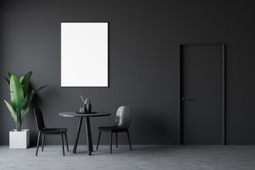 Gray dining room interior with poster