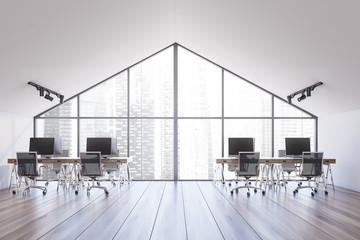 Spacious white attic office interior
