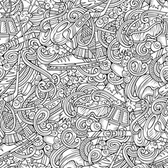 Winter sports hand drawn doodles seamless pattern