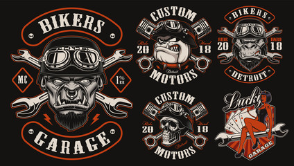 Set of vector designs for biker theme