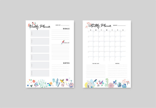 Weekly and Monthly Planner Layout with Illustrative Elements